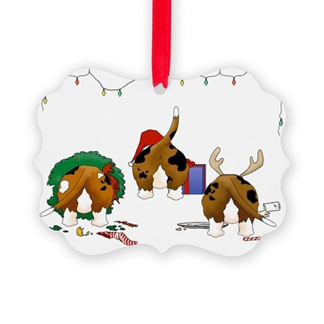 Basset Hound Christmas Picture Ornament