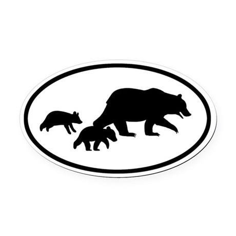 Grizzly Bear Family Oval Car Magnet