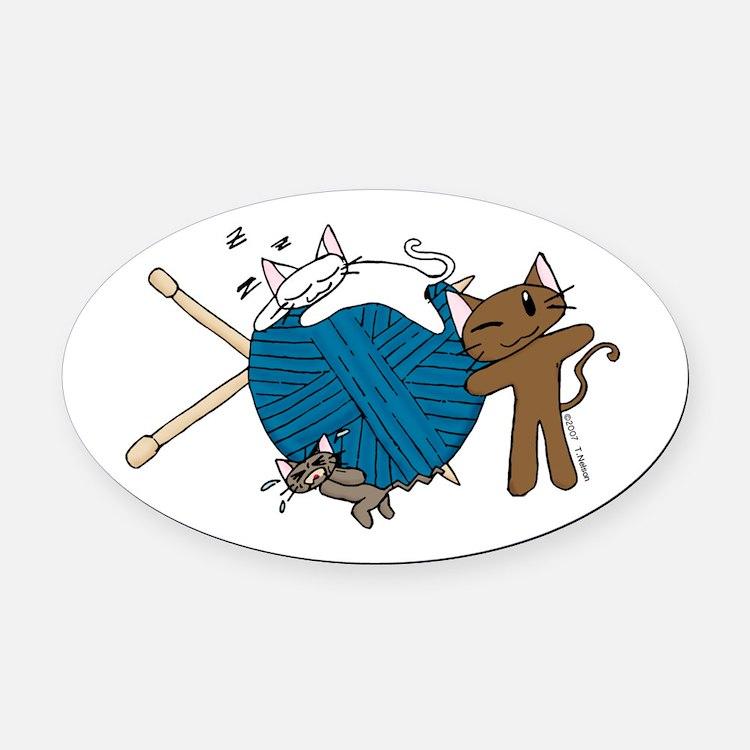 Cat Knit Oval Car Magnet