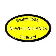 Spoiled Newfoundlands On Board Oval Car Magnet