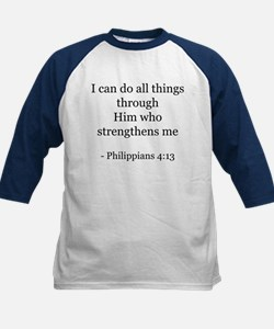 Phillipians 4:13 Kids Baseball Jersey