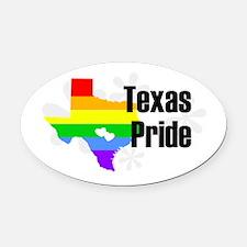 Texas Rainbow Pride Oval Car Magnet