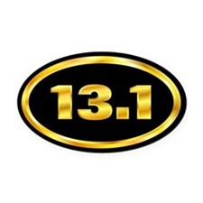13.1 Marathon Gold and Black Oval Car Magnet