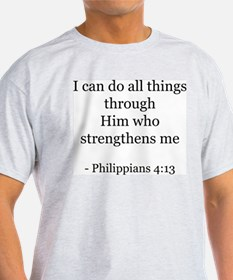 Phillipians 4:13 Ash Grey T-Shirt