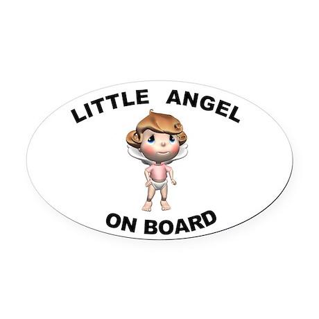 Little Angel on Board Oval Car Magnet