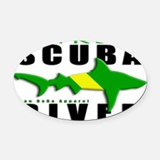 Scuba Diver: Nitrox Shark Oval Car Magnet