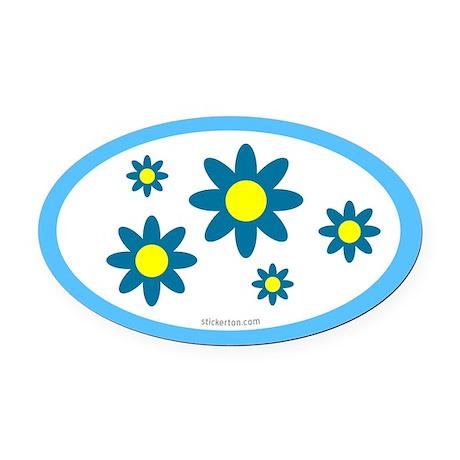 Blue Flower Oval Car Magnet