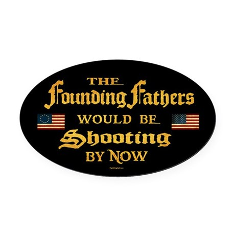 Founding Fathers Shooting Oval Car Magnet