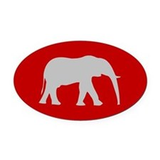 Red/Grey Elephant Oval Car Magnet