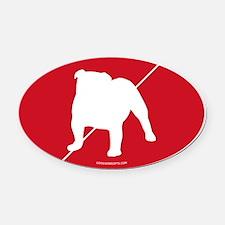 England Flag Bulldog Oval Car Magnet