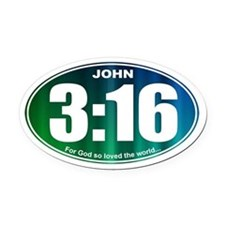JOHN 3:16 - Oval Car Magnet
