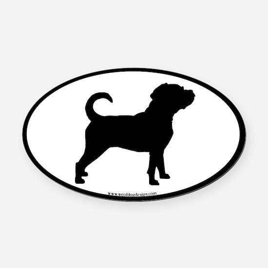 Puggle Dog Oval (black border) Oval Car Magnet