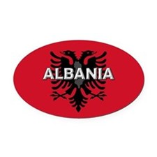 Albanian Flag Extra Oval Car Magnet