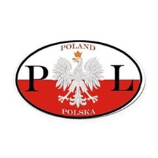 Polish Polska Oval Car Magnet