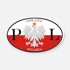 Polish Polska Oval Car Magnet
