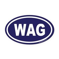 WAG the Dog Blue Euro Oval Car Magnet