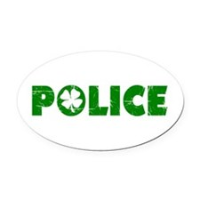 Green Police Oval Car Magnet