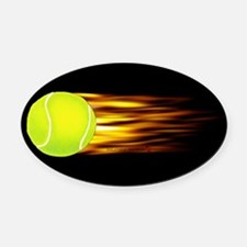 Tennis Flames Oval Car Magnet
