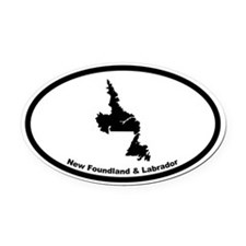 New Foundland Canada Outline Oval Car Magnet