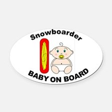 Snowboarder Baby on Board Oval Car Magnet