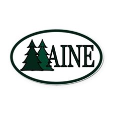 Maine Pine Trees II Oval Car Magnet