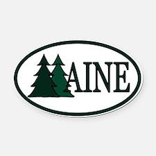 Maine Pine Trees II Oval Car Magnet
