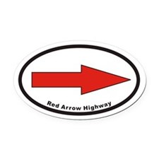 Red Arrow Highway Euro Oval Car Magnet