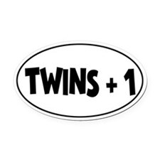 Twins Plus One - Oval Car Magnet
