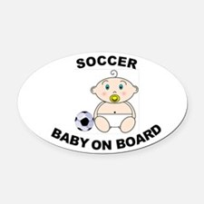 Soccer Baby on Board Oval Car Magnet