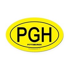 Pittsburgh - Black on Gold Oval - Oval Car Magnet