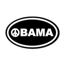 Obama Peace Black Euro Oval Car Magnet