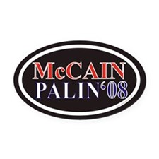 McCain Palin Euro Oval Car Magnet w/ Black Backgro