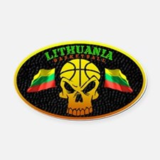 Lithuania Basketball Oval Car Magnet