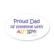 """Proud Dad"" Oval Car Magnet"