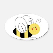 Cute Bee Oval Car Magnet