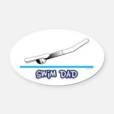 Swim Dad (girl) black suit Oval Car Magnet