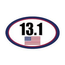 United States half marathon Oval Car Magnet