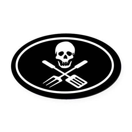Grill Pirate Oval Car Magnet