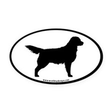 Golden Retriever Oval ( blk border) Oval Car Magne