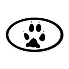 Wolf Track Pawprint Euro Oval Car Magnet