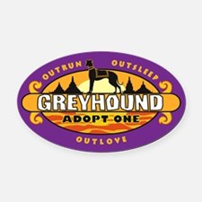 """Greyhound: Adopt One"" Oval Car Magnetpurple)"