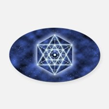 Celestial Blue Star Oval Car Magnet