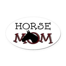 Horse mom black horse. Oval Car Magnet