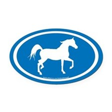 Arabian Horse Oval (wh/blue) Oval Car Magnet