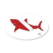 Shark Dive Oval Car Magnet
