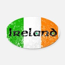 Ireland Flag Distressed Look Oval Car Magnet