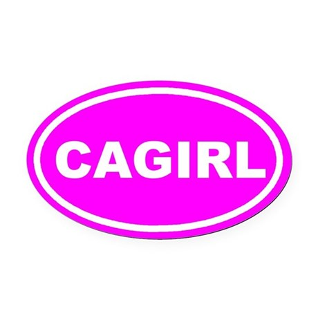 CA GIRL California Pink Euro Oval Car Magnet