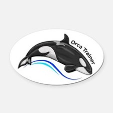 Orca Trainer Oval Car Magnet