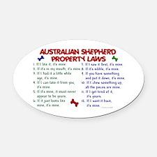 Australian Shepherd Property Laws 2 Oval Car Magne