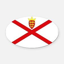 Jersey Flag Oval Car Magnet